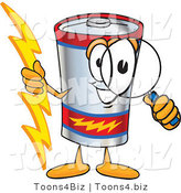 Vector Illustration of a Cartoon Battery Mascot Holding a Bolt of Energy and Looking Through a Magnifying Glass by Toons4Biz