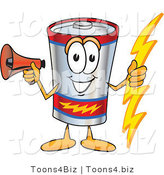 Vector Illustration of a Cartoon Battery Mascot Holding a Bolt of Energy and Megaphone by Toons4Biz