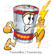 Vector Illustration of a Cartoon Battery Mascot Holding a Bolt of Energy and Running by Toons4Biz