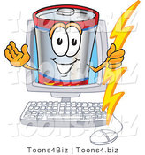 Vector Illustration of a Cartoon Battery Mascot Holding a Bolt of Energy and Waving in a Computer Screen by Toons4Biz