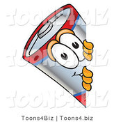 Vector Illustration of a Cartoon Battery Mascot Peeking Around a Corner by Toons4Biz