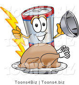 Vector Illustration of a Cartoon Battery Mascot Serving a Thanksgiving Turkey on a Platter by Toons4Biz