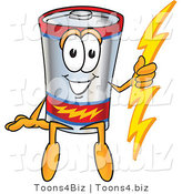 Vector Illustration of a Cartoon Battery Mascot Sitting and Holding a Bolt of Energy by Toons4Biz