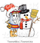 Vector Illustration of a Cartoon Battery Mascot Wearing a Santa Hat and Posing with a Snowman on Christmas by Toons4Biz