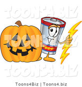 Vector Illustration of a Cartoon Battery Mascot with a Carved Halloween Pumpkin by Toons4Biz