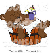 Vector Illustration of a Cartoon Bear Mascot Bathing in a Barrel with a Drink on His Belly by Toons4Biz
