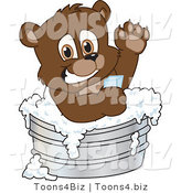 Vector Illustration of a Cartoon Bear Mascot Bathing in a Metal Tub by Toons4Biz