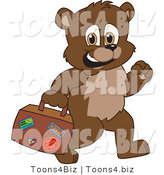 Vector Illustration of a Cartoon Bear Mascot Carrying a Suitcase by Toons4Biz
