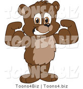 Vector Illustration of a Cartoon Bear Mascot Flexing by Toons4Biz