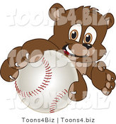 Vector Illustration of a Cartoon Bear Mascot Grabbing a Baseball by Toons4Biz