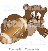 Vector Illustration of a Cartoon Bear Mascot Grabbing a Football by Toons4Biz