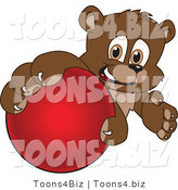 Vector Illustration of a Cartoon Bear Mascot Grabbing a Hockey Ball by Toons4Biz