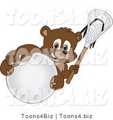 Vector Illustration of a Cartoon Bear Mascot Grabbing a Lacrosse Ball by Toons4Biz