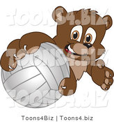 Vector Illustration of a Cartoon Bear Mascot Grabbing a Volleyball by Toons4Biz