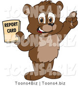 Vector Illustration of a Cartoon Bear Mascot Holding a Report Card by Toons4Biz