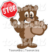 Vector Illustration of a Cartoon Bear Mascot Holding a Stop Sign by Toons4Biz