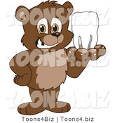 Vector Illustration of a Cartoon Bear Mascot Holding a Tooth by Toons4Biz
