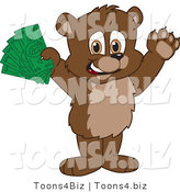 Vector Illustration of a Cartoon Bear Mascot Holding Cash by Toons4Biz
