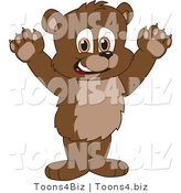 Vector Illustration of a Cartoon Bear Mascot Holding His Paws up by Toons4Biz
