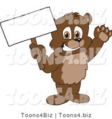 Vector Illustration of a Cartoon Bear Mascot Holding up a Blank Sign by Toons4Biz