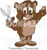 Vector Illustration of a Cartoon Bear Mascot Holding up Scissors by Toons4Biz