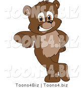 Vector Illustration of a Cartoon Bear Mascot Leaning by Toons4Biz