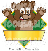 Vector Illustration of a Cartoon Bear Mascot Logo over a Green Diamond and Blank Gold Banner by Toons4Biz