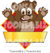 Vector Illustration of a Cartoon Bear Mascot Logo over a Red Diamond and Blank Gold Banner by Toons4Biz