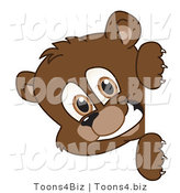 Vector Illustration of a Cartoon Bear Mascot Looking Around a Blank Sign by Toons4Biz