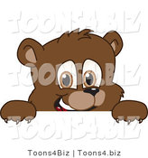 Vector Illustration of a Cartoon Bear Mascot Looking over a Blank Sign by Toons4Biz