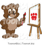 Vector Illustration of a Cartoon Bear Mascot Painting a Paw Print on Canvas by Toons4Biz