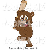 Vector Illustration of a Cartoon Bear Mascot Playing Baseball by Toons4Biz