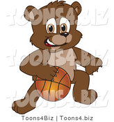 Vector Illustration of a Cartoon Bear Mascot Playing Basketball by Toons4Biz