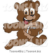 Vector Illustration of a Cartoon Bear Mascot Playing Football by Toons4Biz