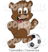 Vector Illustration of a Cartoon Bear Mascot Playing Soccer by Toons4Biz