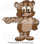 Vector Illustration of a Cartoon Bear Mascot Pointing Left by Toons4Biz