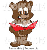 Vector Illustration of a Cartoon Bear Mascot Reading a Book by Toons4Biz