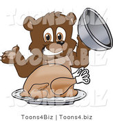 Vector Illustration of a Cartoon Bear Mascot Serving a Thanksgiving Turkey by Toons4Biz