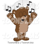 Vector Illustration of a Cartoon Bear Mascot Singing by Toons4Biz