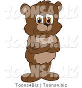 Vector Illustration of a Cartoon Bear Mascot Standing Grumpily with His Arms Crossed by Toons4Biz