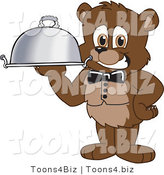 Vector Illustration of a Cartoon Bear Mascot Waiter Serving a Platter by Toons4Biz