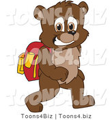 Vector Illustration of a Cartoon Bear Mascot Walking to School by Toons4Biz