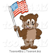 Vector Illustration of a Cartoon Bear Mascot Waving an American Flag by Toons4Biz