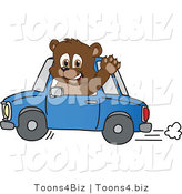 Vector Illustration of a Cartoon Bear Mascot Waving and Driving a Car by Toons4Biz