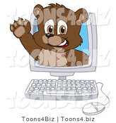 Vector Illustration of a Cartoon Bear Mascot Waving in a Computer Screen by Toons4Biz