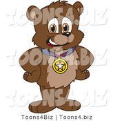 Vector Illustration of a Cartoon Bear Mascot Wearing a Medal by Toons4Biz