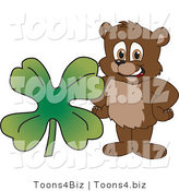 Vector Illustration of a Cartoon Bear Mascot with a Four Leaf Clover by Toons4Biz