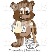 Vector Illustration of a Cartoon Bear Mascot with a Sling, Cast and Crutch by Toons4Biz