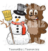 Vector Illustration of a Cartoon Bear Mascot with a Snowman by Toons4Biz