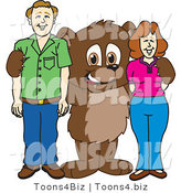 Vector Illustration of a Cartoon Bear Mascot with Adults by Toons4Biz